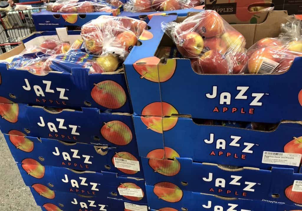 Jazz Apples in blue jazz apple crates