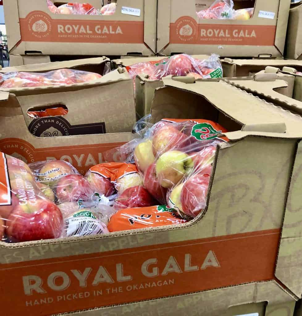 Royal Gala apples at the grocery store in bulk bags
