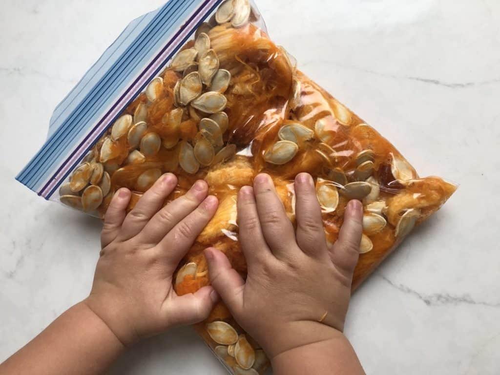 sensory bag of pumpkin guts for toddler
