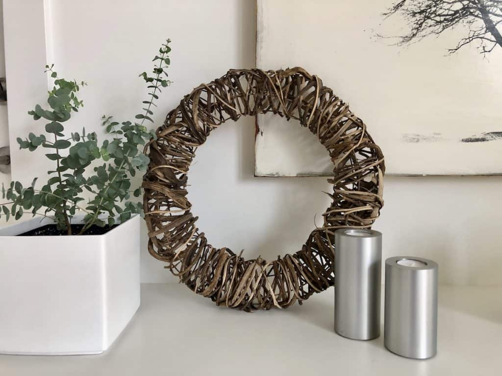 wreath made of wrapped twigs