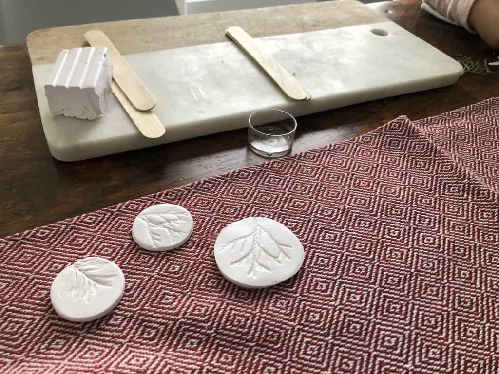 cedar print polymer clay christmas ornaments